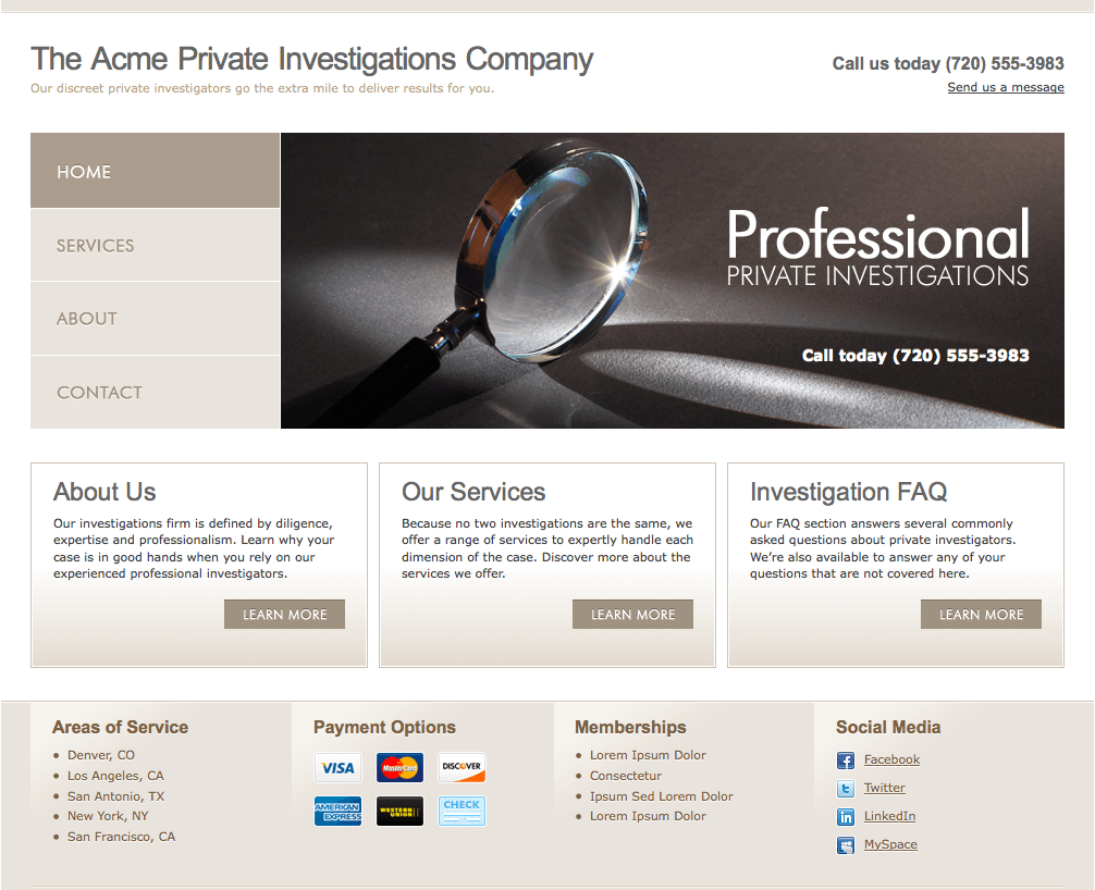 Private Investigator Website