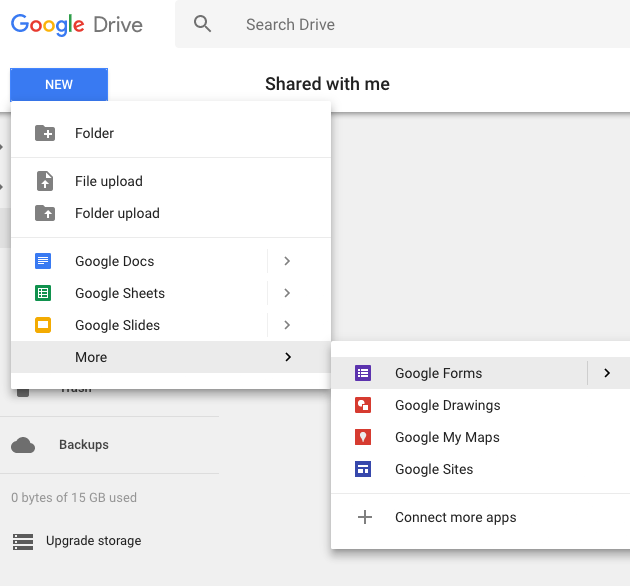 Visual Exlpanation of Starting a New Form in Google Drive
