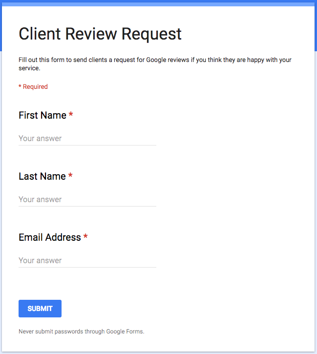 Example of Finished Client Review Request Form