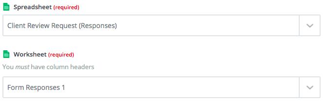 Choosing appropriate Spreadsheet and Worksheet in Zapier