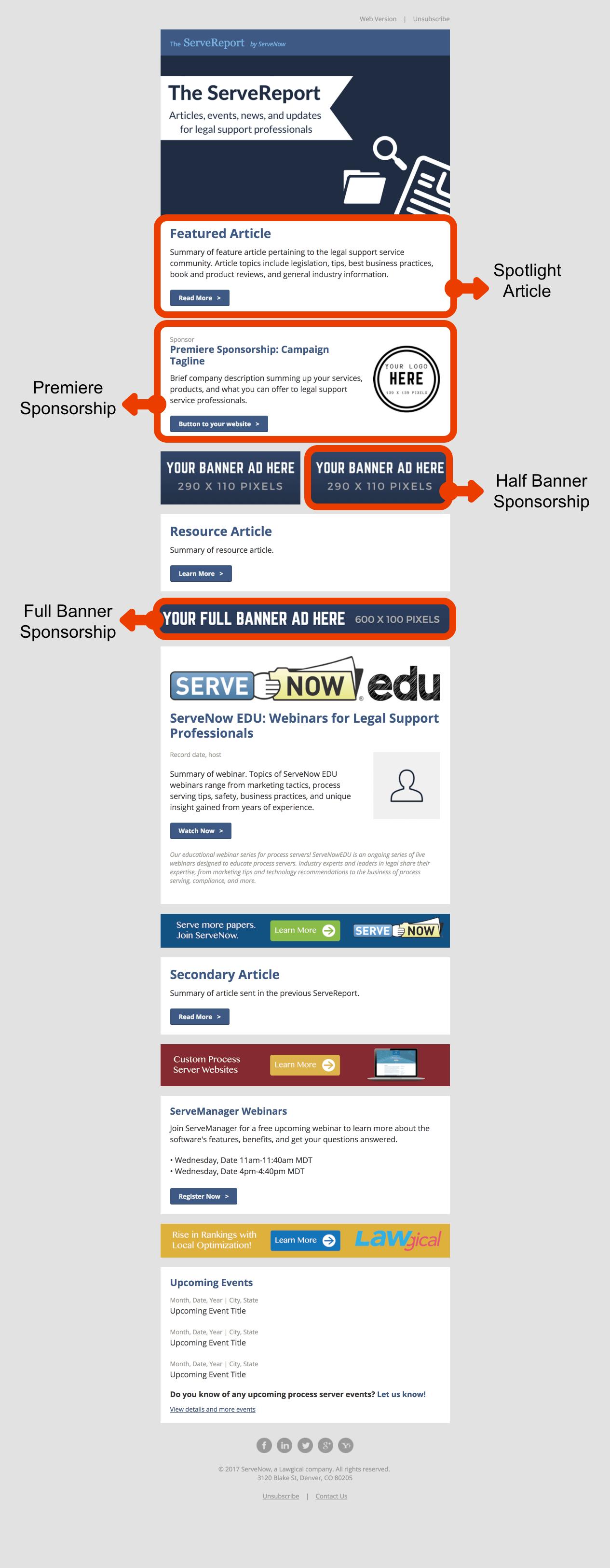 ServeReport Newsletter Example for Sponsorships