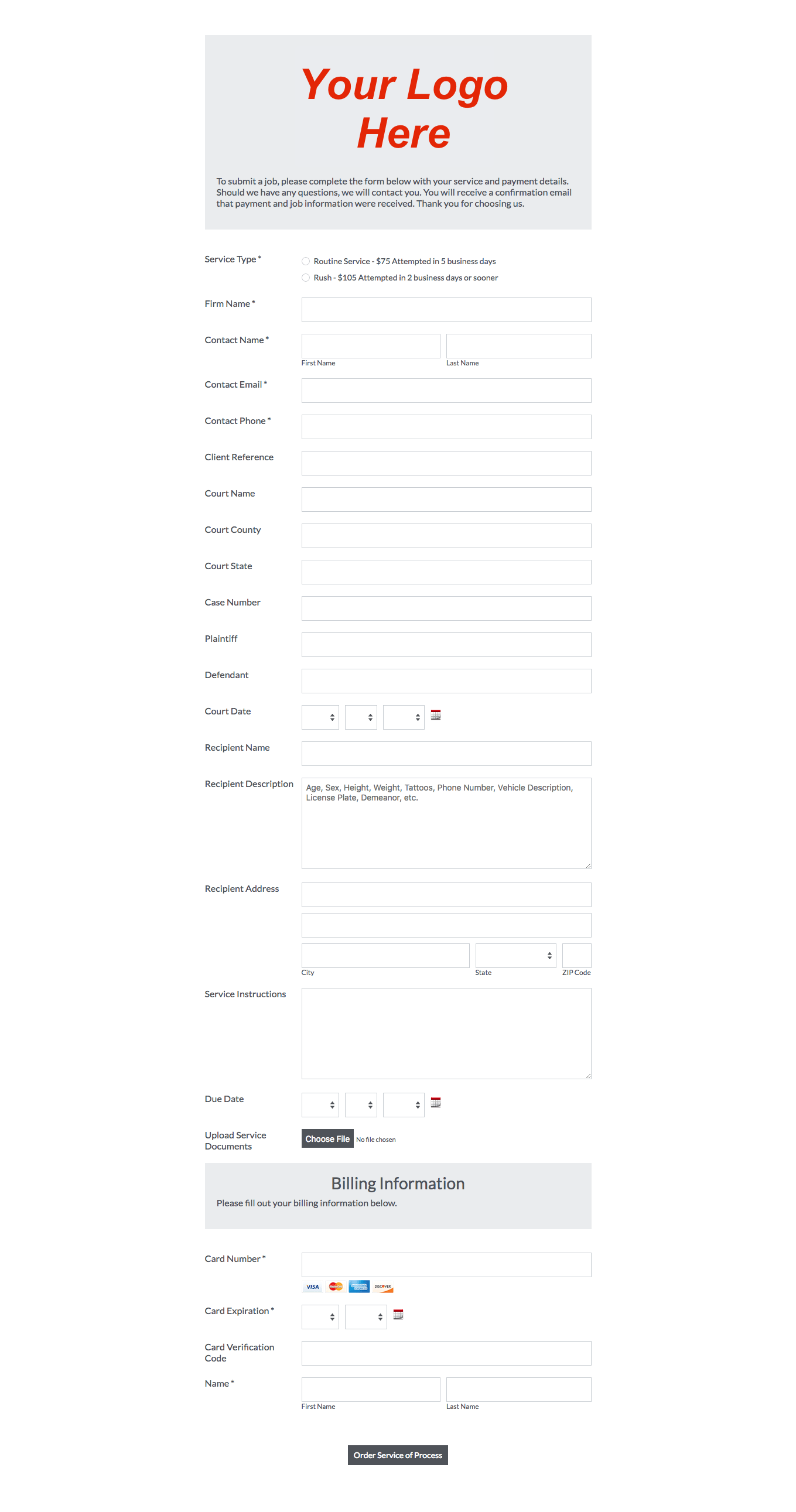SM Order Form Example