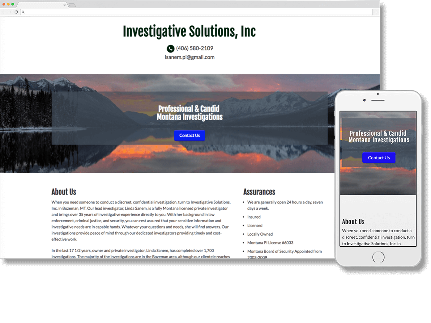 Custom Private Investigator Website