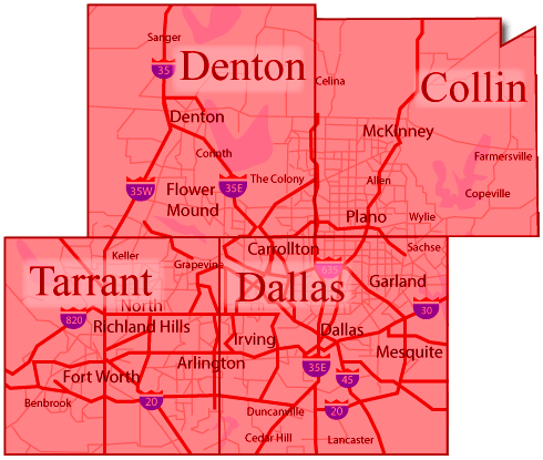 Denton, Collin, Tarrant, Dallas County service area