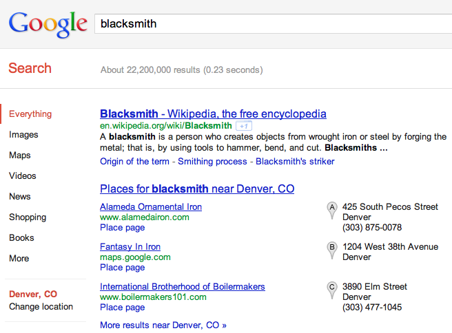 Google Places Blacksmith Search