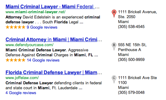 Google Places - Miami Criminal Attorney