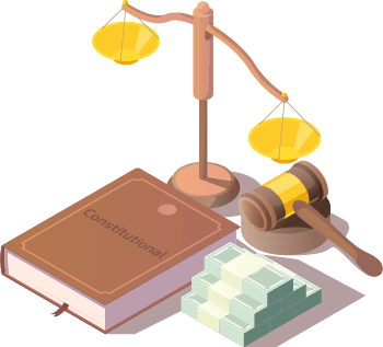 Legal themed graphic with justice scales, books, and gavel