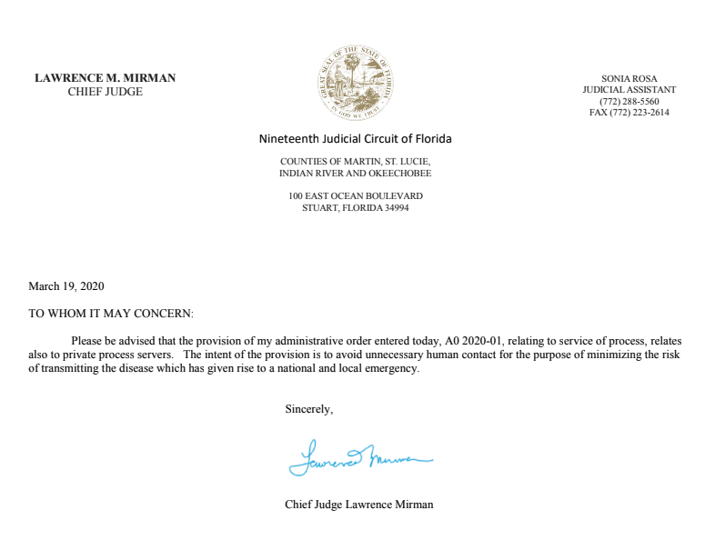 Chief Judge Lawrence Mirman Letter re A0 2020-01