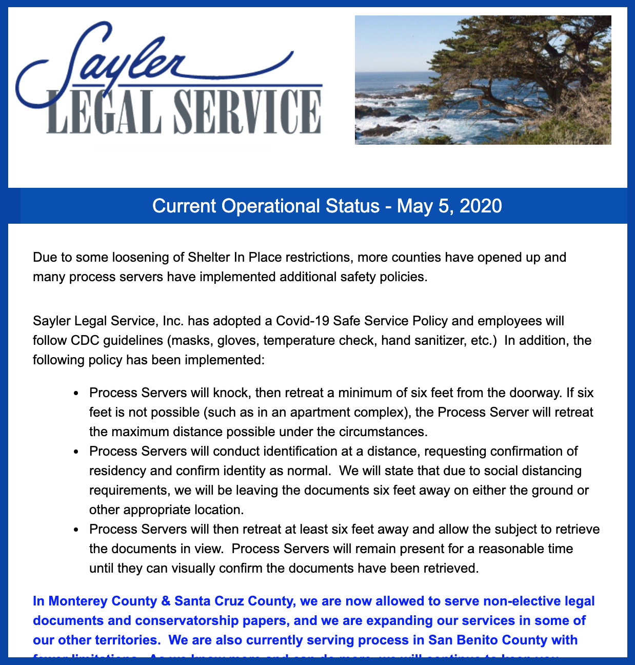Sayler Legal Service COVID Email