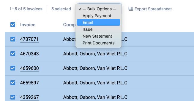 bulk invoice email