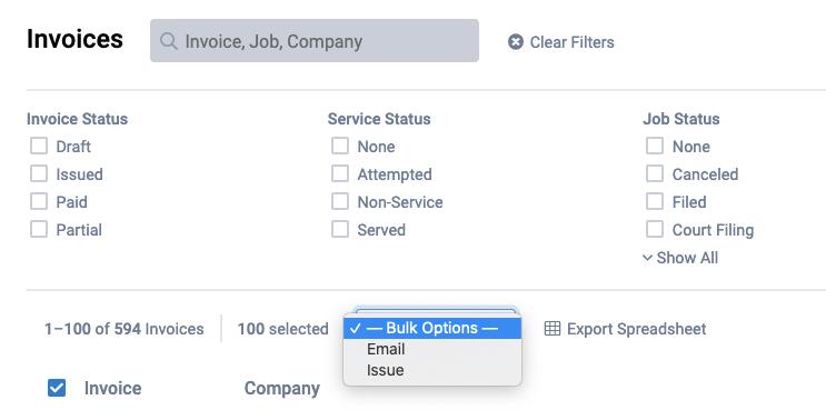 bulk invoice item