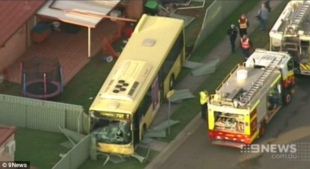 Image of a bus that crashed into a house