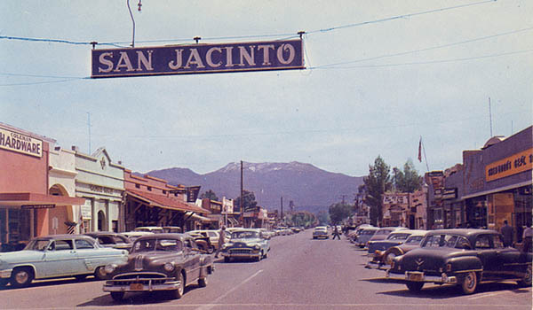 1950's picture of Downtown San Jacinto CA