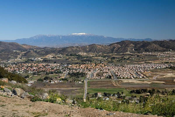 View of Murrieta from a hillside vantage looking down on cit