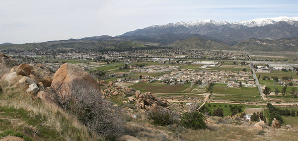 Modern day view of Banning from the hills above