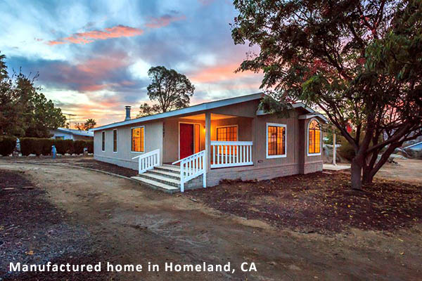 Image of a manufactured home in Homeland, CA