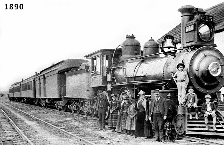 Black and white image of a Santa Fe train in 1890