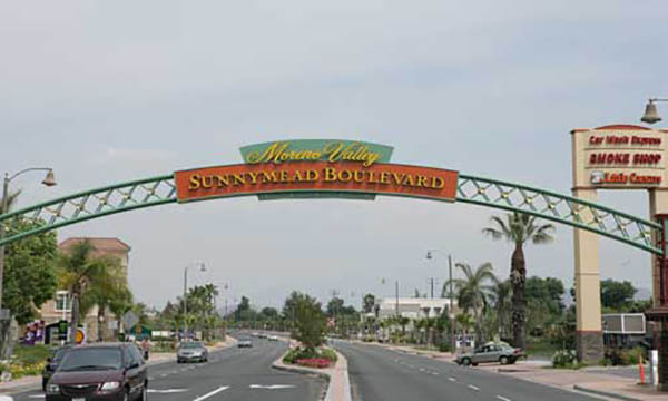 The large sign over Sunnymead Blvd in Moreno Valley, CA