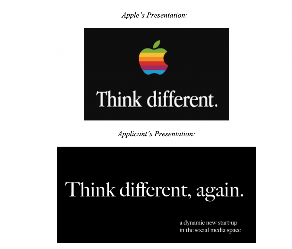 "A comparison of the two trademarks at issue.  The applicant's mark is on the bottom, and reads ""Think different, again.""  Apple's logo on the top says ""Think Different"" accompanied by a rainbow apple."
