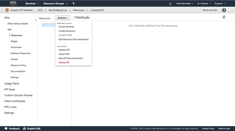 API action menu
