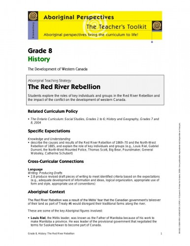 Grade 8 History – The Red River Rebellion - LearnCloud