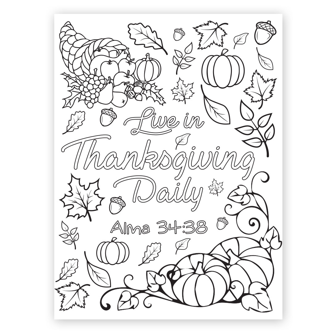 Live in Thanksgiving Daily Coloring Page - Printable