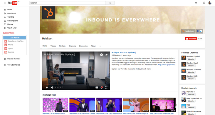 Hubspot's YouTube channel