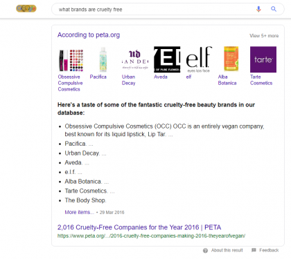 Google List result