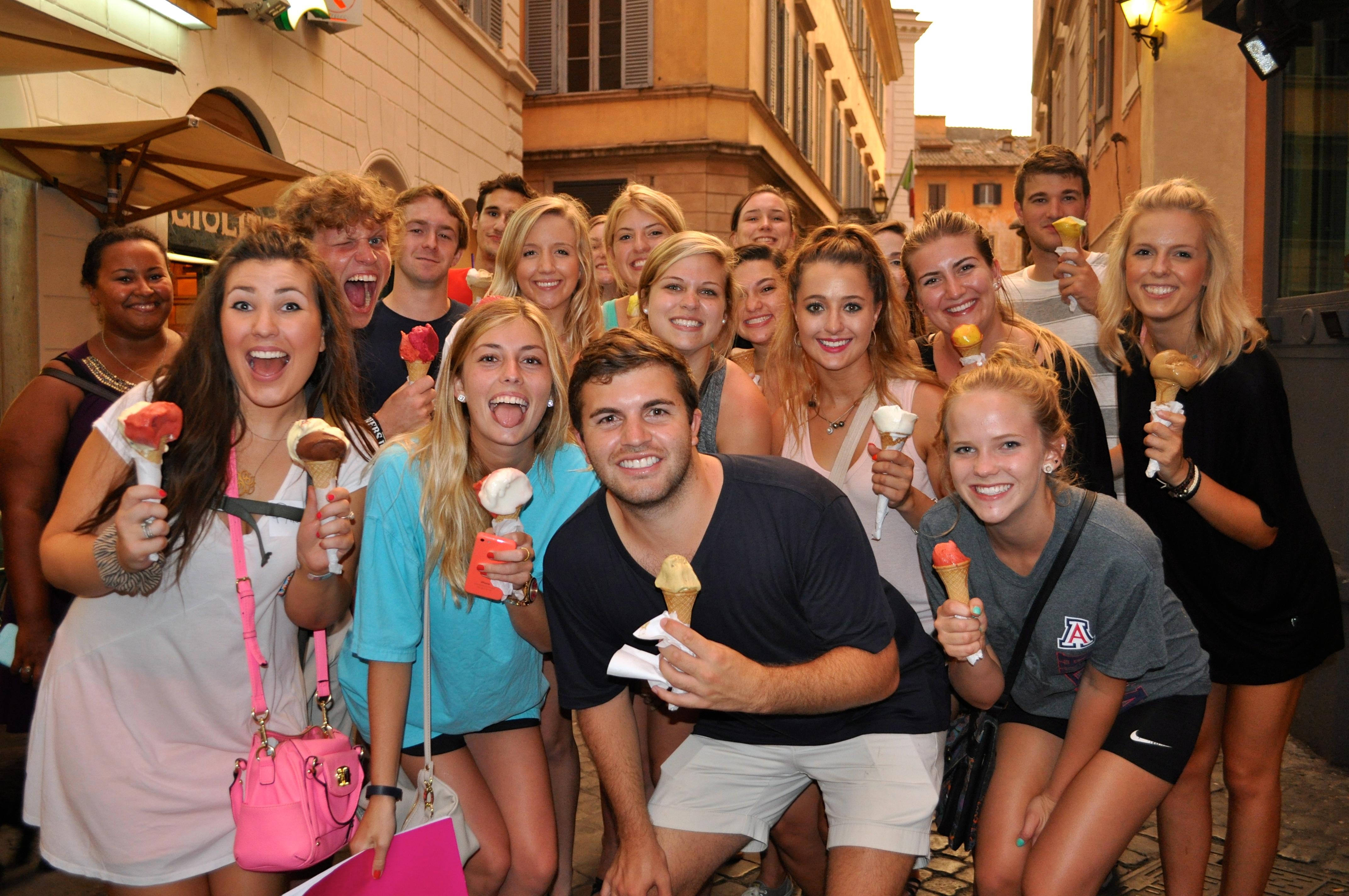 Friends enjoying Gelato in Rome