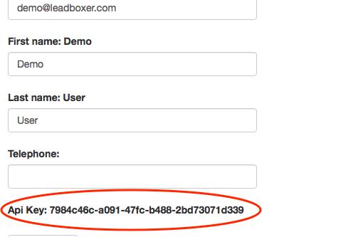 LeadBoxer API Key in LeadBoxer account