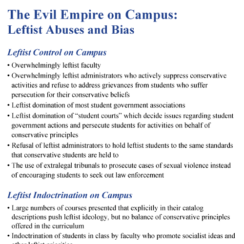 The Evil Empire on Campus: Leftist Abuses and Bias
