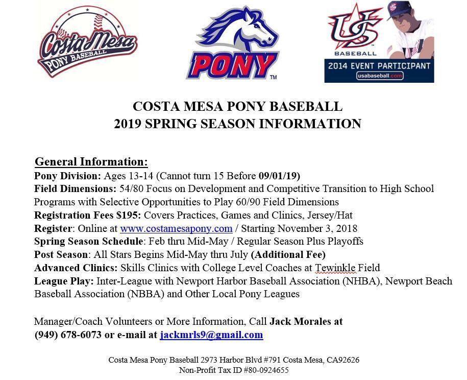 Costa Mesa Pony Baseball - Home