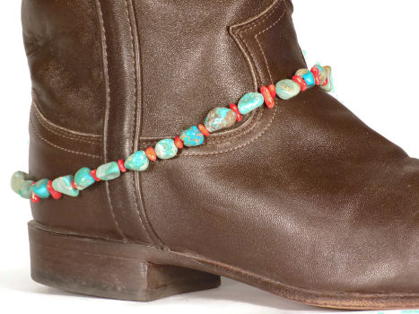 Boot Bracelet with Genuine Turquoise and Coral Beads