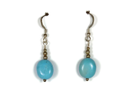 Earrings with Sterling Silver and Turquoise Beads