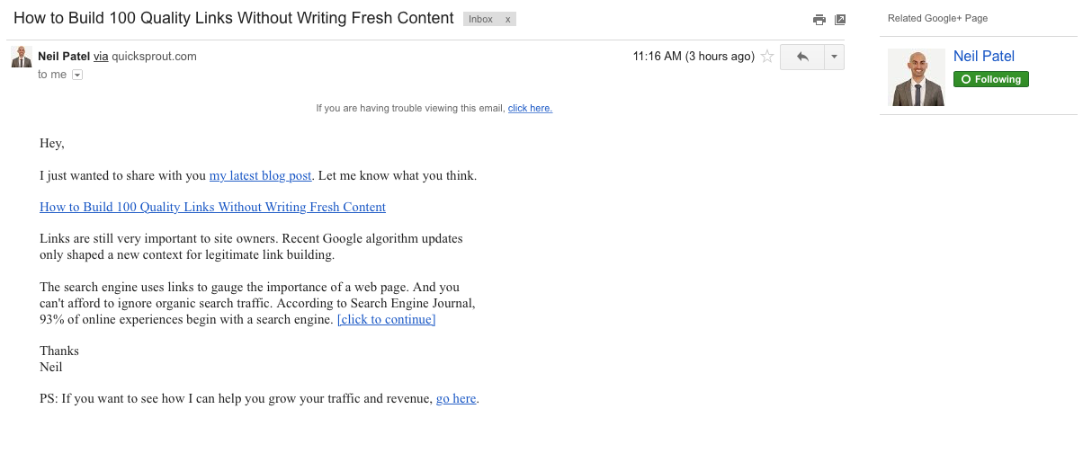 Neil Patel Email Example