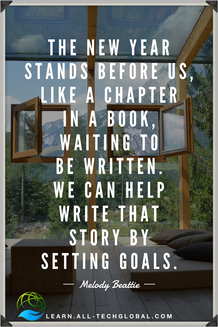 "Quote: ""The New Year stands before us, like a chapter in a book, waiting to be written.  We can help write that story by setting goals."""