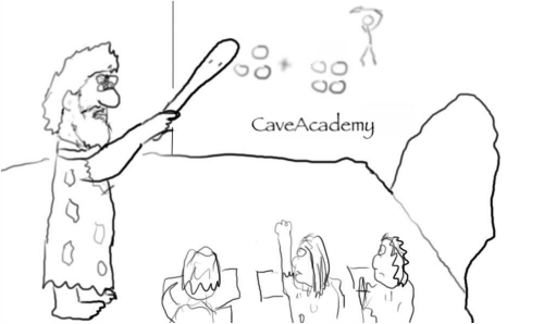 caveman-teaching-math