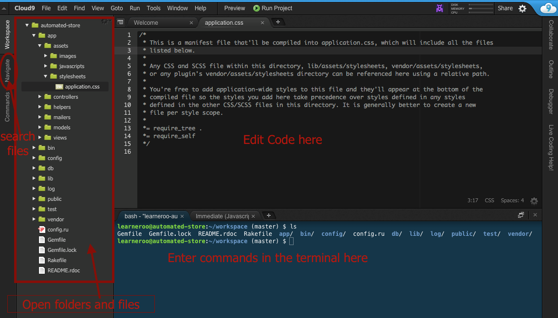 cloud 9 editor