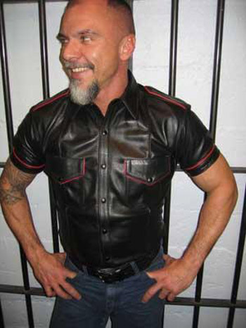 Short Sleeve Leather Police Shirt With Accents Moncure