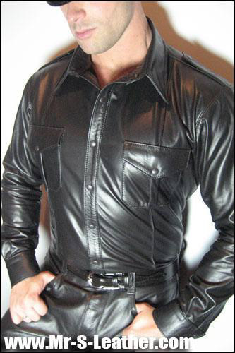 Long Sleeve Leather Shirt Grifton