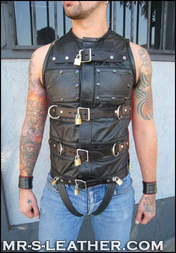 Leather Bondage Vest Emerald Isle