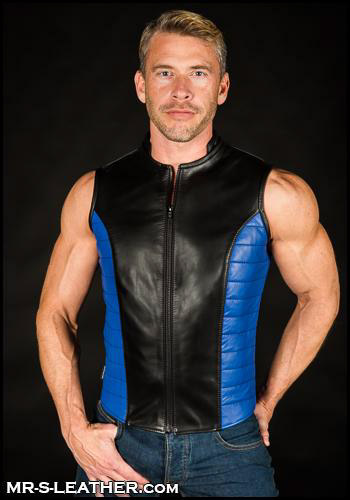 Blue Leather Renegade Vest Cortaro