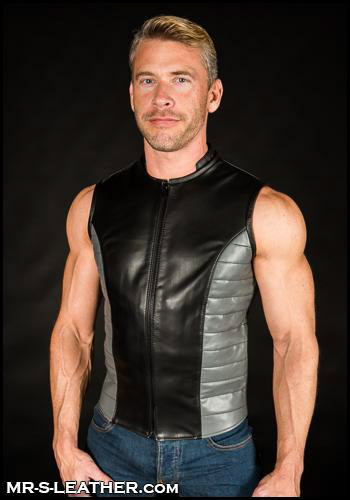 Grey Leather Renegade Vest Emerald Isle