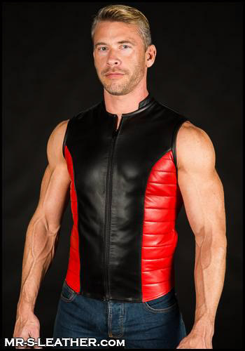 Red Leather Renegade Vest 02534