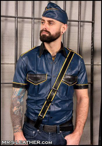 Tri-Colored Leather Police Shirt Moncure