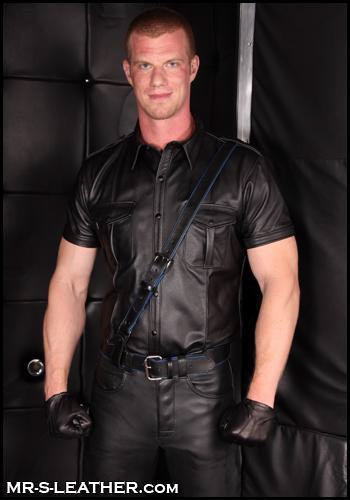 Short Sleeve Leather Police Shirt 35016