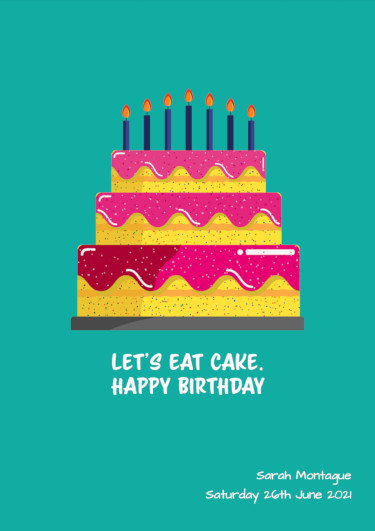 A birthday card showing a teal cake with candles