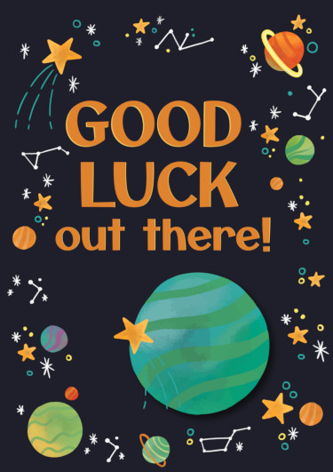 A good luck card showing planets