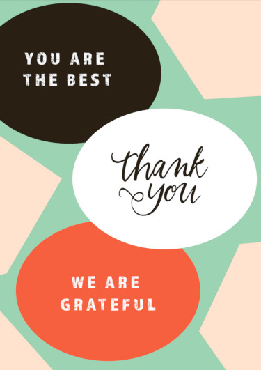 A thank you card with grateful words