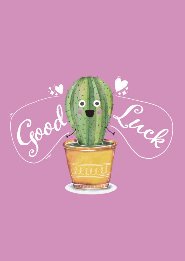A good luck card showing a cactus